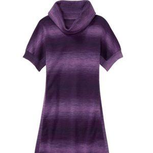 Athleta Zuni 2 Space Dye Purple Cowl Sweater Dress